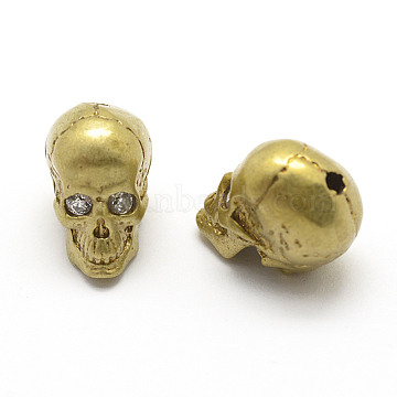 Brass Beads, Nickel Free, with Cubic Zirconia, Skull, Raw(Unplated), 11.5x8.5x11mm, Hole: 2mm(KK-P130-009C)