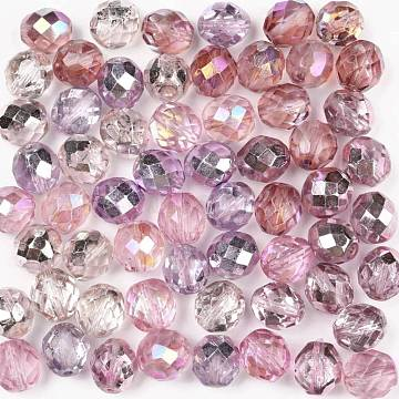 Czech Lampwork Beads, Faceted, Ananas, Pink, 10x10mm, Hole: 1.4mm; about 60pcs/bag(LAMP-O017-151-DM10)