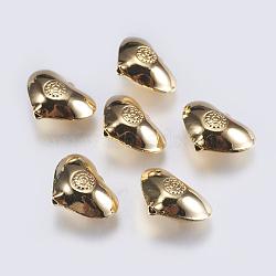 Perles en laiton, cœur, véritable 18k plaqué or, 14x19x8mm, Trou: 1.5mm(KK-F740-16G)