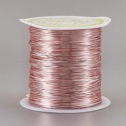 Copper Wire Copper Beading Wire, Long-Lasting Plated, Rose Gold, 24 Gauge, 0.5mm; 23m/roll(CWIR-F001-RG-0.5mm)