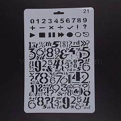 Modèles de pochoirs de peinture de dessin en plastique, rectangle, blanc, 25.5x17.4x0.04 cm(DIY-F018-B21)