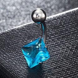 piercing bijoux, anneau de nombril de zircon cubique en laiton environnemental, anneaux de ventre, avec les résultats en acier inoxydable, losange, platine, deepskyblue, 20x11 mm; broches: 1.5 mm(AJEW-EE0006-27C)