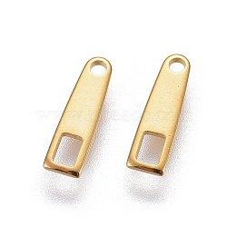 304 languettes de la chaîne en acier inoxydable, connecteurs d'extension de chaîne, or, 10x3x0.76 mm, trou: 1 mm(STAS-L221-04G)