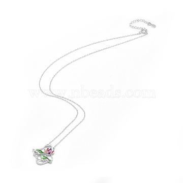 925 Sterling Silver Pendant Necklaces, with Enamel and Cubic Zirconia, Lotus Pond, Colorful, 15.7 inches(40cm)(NJEW-F246-05P)