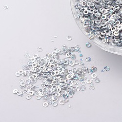 ornement accessoires plastique paillette / paillettes perles, anneau, argent, 2x0.1 mm, trou: 0.8 mm(PVC-E001-06-LS02)