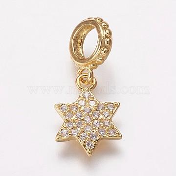 19mm Clear Star Brass+Cubic Zirconia Dangle Beads