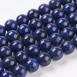 Natural Lapis Lazuli Beads Strands, Dyed, Round, Blue, 10mm, Hole: 1mm; about 19pcs/strand, 7.6inches