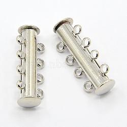 Fermoirs magnétiques de 4-chapelets en laiton, 8 trous, platine, 25x10mm(X-KK-H310-P)