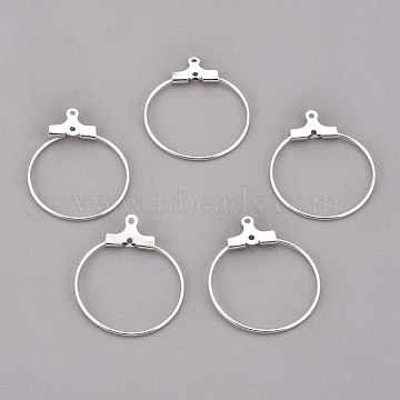 304 Stainless Steel Pendants, Hoop Earring Findings, Ring, Silver, 21 Gauge, 23.5x21~23x1.5mm, Hole: 1mm; Inner Size: 20~21.5mm; Pin: 0.7mm(STAS-F191-09S-A)