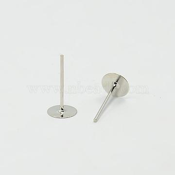 Accessoires de boucle d'oreille rondes plat blanc clou d'oreille, sans nickel, platine, taille: environ 6mm de diamètre, Longueur 12mm, épaisseur de 0.8mm(X-E013-NF)