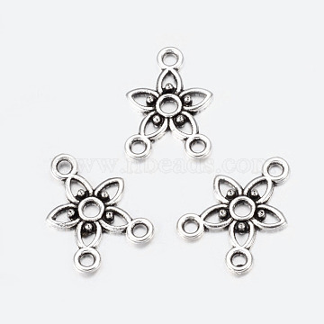Chandelier Component Links, 3 Loop Connectors, Lead Free and Cadmium Free, Alloy, Star, Antique Silver, about 17.5mm long, 12mm wide, 2mm thick, hole: 1.5mm(X-EA10675Y)