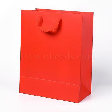 Sacs en papier kraft, avec poignées, sacs-cadeaux, sacs à provisions, rectangle, rouge, 32x25x13.2 cm(AJEW-F005-03-D)