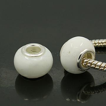 12mm White Rondelle Lampwork + Brass Core Beads