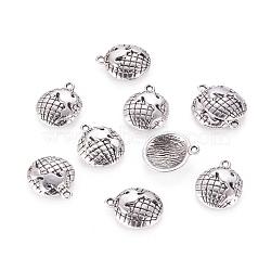Demi-globe pendentifs de style tibétain, Sans cadmium & sans nickel & sans plomb, argent antique, 16x13x3mm, Trou: 1.5mm(TIBEP-A5395-AS-NR)