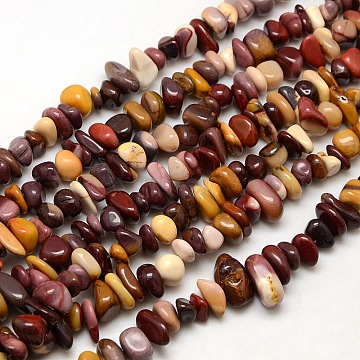 Nuggets Natural Mookaite Beads Strands, 8~12x8~10x2~8mm, Hole: 1mm; about 50~80pcs/strand, 15~16inches(G-P029-04)