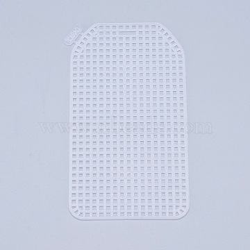 Plastic Mesh Canvas Sheets, for Embroidery, Acrylic Yarn Crafting, Knit and Crochet Projects, Oval Rectangle, White, 11.4x6.33x0.15cm, Hole: 4x4mm(DIY-M007-16)