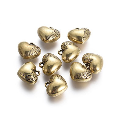 Antique Golden Heart Plastic Pendants