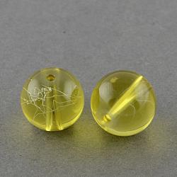 """Chapelets de perles en verre transparent drawbench, peint à la bombe, rond, verge d'or, 6 mm; trou: 1.3~1.6 mm; environ 133 pcs / brin, 31.4""""(X-GLAD-Q012-6mm-06)"""
