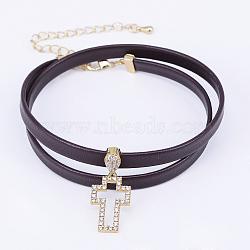 colliers choker avec cordon en cuir, avec pendentifs en micro-pavé de laiton et zircone et pinces à homard, traverser, coconutbrown, or, 13.38 (34 cm)(NJEW-H477-33G)