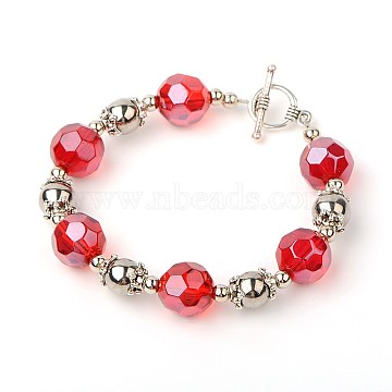 Trendy Women's Glass Beads Bracelets, with Tibetan Silver Beads, CCB Plastic Beads and Tibetan Silver Toggle Clasps, Antique Silver, Red, 195mm(BJEW-JB01590-05)