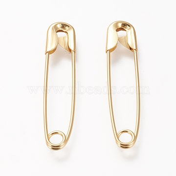 Brass Safety Pins, Long-Lasting Plated, Real 20K Gold Plated, 38x8x2.2mm, Pin: 1mm(KK-L0016-018G)