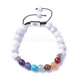 chakra bijoux, bracelets de perles tressées en pierre naturelle et synthétique, avec howlite naturel, résultats d'alliage et cordon de nylon, rectangle avec l'arbre, 52~76 mm(BJEW-I273-H16)