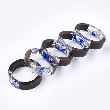 Epoxy Resin & Ebony Wood  Rings, with Dried Flower, Silver Foil, Royal Blue, US Size 7 1/4(17.5mm)(RJEW-S043-03C-01)
