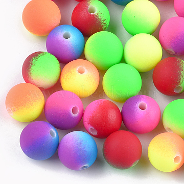 Rubberized Style Acrylic Beads, Round, Mixed Color, 8x7mm, Hole: 2mm(X-MACR-T023-32A)