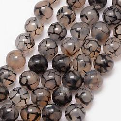 Natural Dragon Veins Agate Bead Strands, Round, Grade A, Dyed & Heated, Coffee, 12mm, Hole: 1mm; about 32pcs/strand, 15