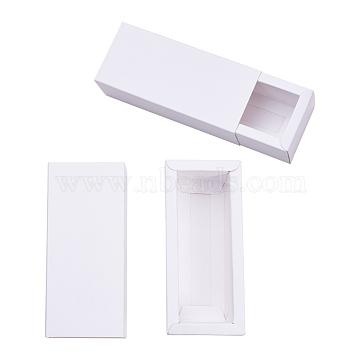 Kraft Paper Drawer Box, Folding Box, Corrugated E-flute Box, Rectangle, White, Finished Product: 12.1x5.1cm; Inside Size: 10.6x3.6x3.5cm, 20pcs/set(CON-YW0001-02D-A)