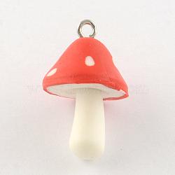 champignons à la main pendentifs en argile polymère, avec les conclusions de fer de tonalité de platine, tomate, 25~27x16 mm, trou: 2 mm(X-CLAY-R060-97C)