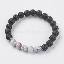 """La lave naturelle et les perles de pierre naturelle Shoushan extensible bracelets, avec les accessoires en alliage, 2"""" (52 mm)(BJEW-I241-10H)"""