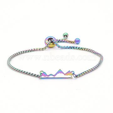 """Bracelets réglables en 201 acier inoxydable, bracelets bolo, avec des chaînes de boîte, montagne, multicolore, 9-7/8"""" (25 cm)(STAS-S105-JN660)"""