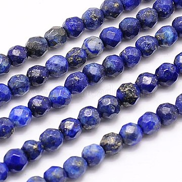 Natural Lapis Lazuli Beads Strands, Faceted, Round, Blue, 4mm, Hole: 0.7mm; about 90pcs/strand, 15.35inches.(X-G-G545-18)