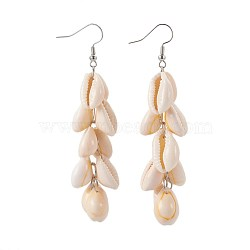 Cauris perles perles pendantes, avec 304 crochet en acier inoxydable et anneau de saut en fer, 84~86 mm; broches: 0.7 mm(EJEW-JE02897)