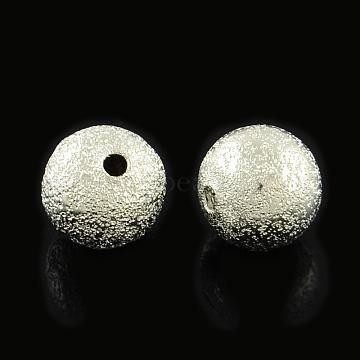 Brass Textured Beads, Cadmium Free & Lead Free, Round, Platinum, 8mm, Hole: 1.5mm(KK-R012-8mm-P)
