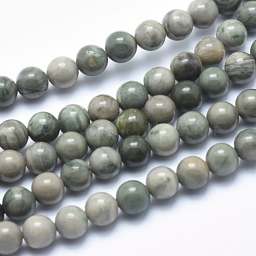 Natural Green Line Jasper Beads Strands, Round, 8mm, Hole: 1mm, about 46pcs/strand, 15.1 inches(38.5cm)(X-G-P361-01-8mm)