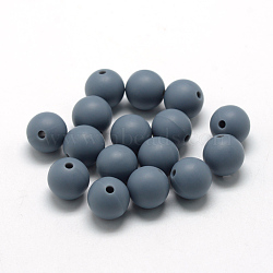 Billes de silicone environnementalistes de qualité alimentaire, perles à mâcher pour les jouets de dentition, Diy soins infirmiers colliers faisant, rond, slategray, 12mm, Trou: 2mm(SIL-R008B-15)