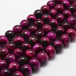 Chapelets de perles en œil de tigre naturelle, teints et chauffée, rond, mediumvioletred, 8mm, trou: 1mm; environ 44 pcs/chapelet, 14.9''~15.1''(G-D840-54-8mm-04)