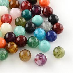 perles acryliques de pierres précieuses imitation ronde, pour la fabrication de bracelets et de bijoux, couleur mélangée, 6 mm, trou: 2 mm(X-OACR-R029-6mm-M)