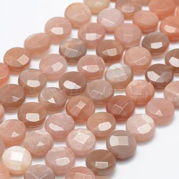 13mm Flat Round Sunstone Beads