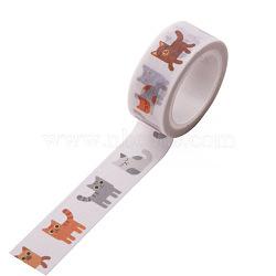 Rubans adhésifs décoratifs pour bricolage, chat, blanc, 15mm, 5 m / rouleau (5.46 heures / rouleau)(DIY-F016-P-37)