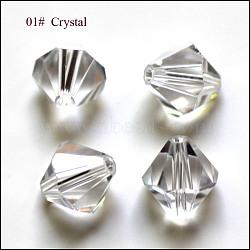 Perles d'imitation cristal autrichien, grade AAA, facette, Toupie, clair, 4x4mm, Trou: 0.7~0.9mm(X-SWAR-F022-4x4mm-001)