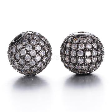 Brass Micro Pave Grade AAA Cubic Zirconia Beads, Cadmium Free & Nickel Free & Lead Free, Round, Clear, Gunmetal, 10mm, Hole: 2mm(KK-E711-116-10mm-B-NR)