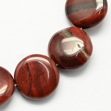 Flat Round Natural Red Jasper Beads Strands, Coconut Brown, 16x5mm, Hole: 1mm; about 25pcs/strand, 16.5 inches(X-G-S110-06)