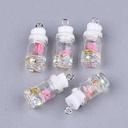 Décorations de bouteille en verre, avec résine strass et bouchon, fleur séchée et fer, platine, blanc, 26~27x9.5~10mm, Trou: 1.8mm(X-GLAA-S181-05H)