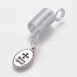 poignées de bobine de cheveux de fil d'aluminium, bobine de manchette dread, avec des pendentifs en alliage, ovale, argent antique et platine, 52 mm, trou: 5.5 mm(OHAR-TAC0004-03J)