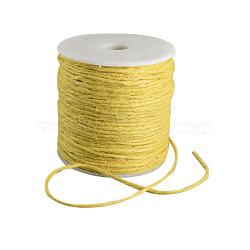 Cordon de chanvre coloré, chaîne de chanvre, ficelle de chanvre, 3 pli, pour la fabrication de bijoux, jaune, 2 mm; 100 m / rouleau(OCOR-R008-2mm-007)
