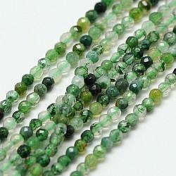 naturelles agate perles brins, ronde à facettes, 2 mm, trou: 0.8 mm; environ 190 perle / brin, 16(X-G-A129-2mm-01)