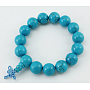 Buddha Beads Bracelet, Turquoise, about 6.5cm inner diameter; Beads: about 14mm in diameter